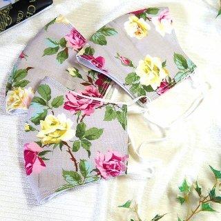 【花楽堂オリジナル】マスク 布マスク グレー ローズ柄 呉服屋の上質晒マスク 手作り 日本製