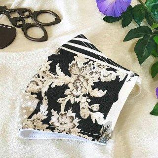 【花楽堂オリジナル】マスク 布マスク カフェオレフラワー 呉服屋の上質晒マスク 手作り 日本製