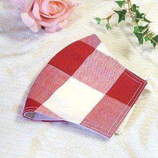 【花楽堂オリジナル】マスク 布マスク 紅白 格子 呉服屋の上質晒マスク 手作り 日本製