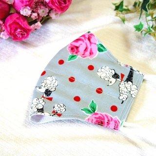 【花楽堂オリジナル】マスク 布マスク プードルローズ 呉服屋の上質晒マスク 手作り 日本製