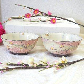 京焼 清水焼 組茶碗 かすみ梅 加春窯 飯碗 大小ペア