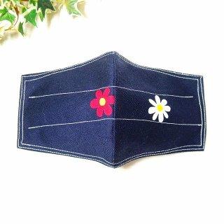 【花楽堂オリジナル】マスク 布マスク デニム調 デイジー 呉服屋の上質晒マスク 手作り 日本製
