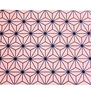 【手捺染本染め手拭い】日本の伝統柄手ぬぐい 麻の葉模様 ピンク