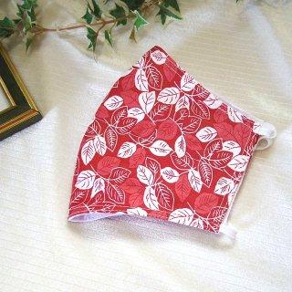 【花楽堂オリジナル】マスク 布マスク 和柄 葉っぱ 赤 呉服屋の上質晒マスク 手作り 日本製