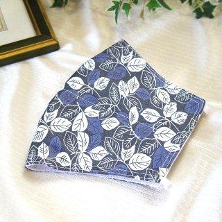 【花楽堂オリジナル】マスク 布マスク 和柄 葉っぱ ブルーグレー 呉服屋の上質晒マスク 手作り 日本製
