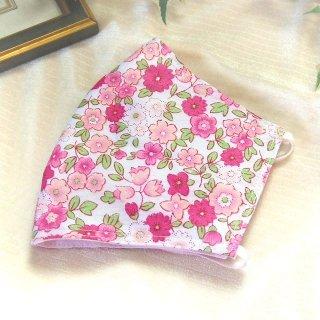 【花楽堂オリジナル】マスク 布マスク 小花柄ピンク 呉服屋の上質晒マスク 手作り 日本製