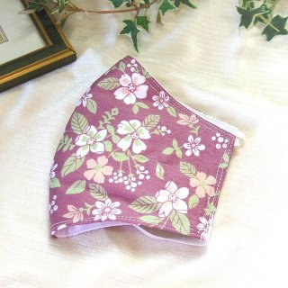 【花楽堂オリジナル】マスク 布マスク 薄紫 花柄葉柄 呉服屋の上質晒マスク 手作り 日本製