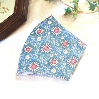 【花楽堂オリジナル】マスク 布マスク 和柄 葉っぱと白花柄 呉服屋の上質晒マスク 手作り 日本製