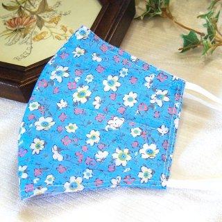 【花楽堂オリジナル】マスク 布マスク 小花柄ブルー 呉服屋の上質晒マスク 手作り 日本製