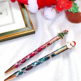 【ジュエリーが輝くペン】 クリスマス キラキラボールペン タータンチェック