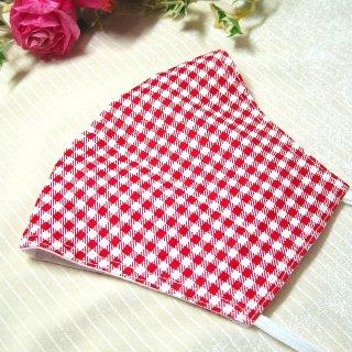 【花楽堂オリジナル】マスク 布マスク 赤 チェック柄 呉服屋の上質晒マスク 手作り 日本製