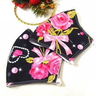 【花楽堂オリジナル】マスク 布マスク キラキラ 薔薇とハート 呉服屋の上質晒マスク 手作り 日本製