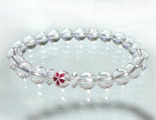 天然クラック水晶の桜彫りブレスレットB190518