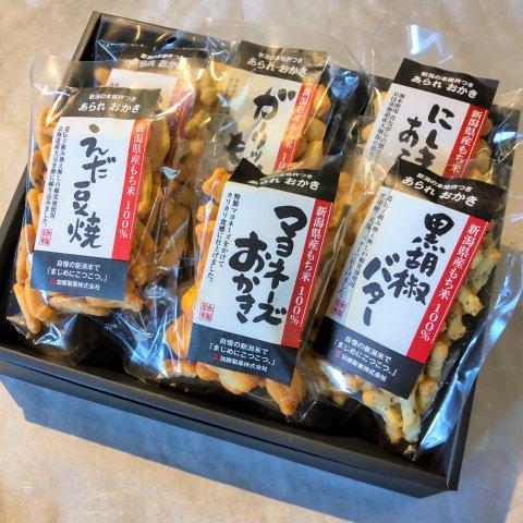 加藤製菓 新潟米あられおかき<br>【6袋詰合せ】