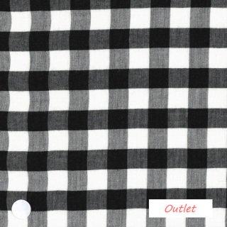 レーヨン綿麻ブラックブロックチェック