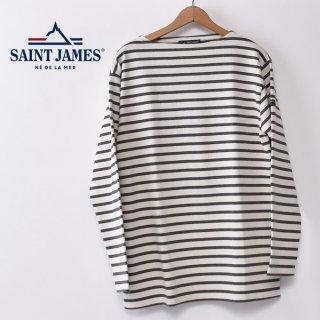 国内正規品 SAINT JAMES セントジェームス OUESSANT ウエッソン BORDER ボーダー  長袖Tシャツ ECRU/ACIER(生成り/チャコールグレー)
