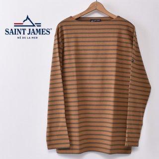 国内正規品 SAINT JAMES セントジェームス OUESSANT ウエッソン BORDER ボーダー  長袖Tシャツ SIENNE/LICHEN(ライトブラウン/カーキグリーン)