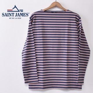 国内正規品 SAINT JAMES セントジェームス OUESSANT ウエッソン BORDER ボーダー  長袖Tシャツ ORAGE/POUDRE(スモークブルー/ベビーピンク)