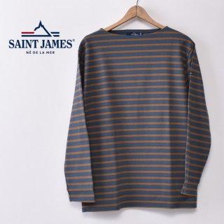 国内正規品 SAINT JAMES セントジェームス OUESSANT ウエッソン BORDER ボーダー  長袖Tシャツ ABER/CIGARE(ターコイズグリーン/シガール)
