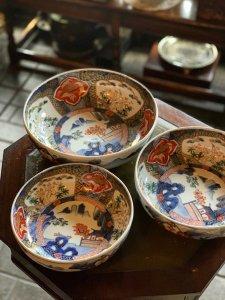 鶴と鳳凰のおめでたい図柄 伊万里・色絵・三つ組鉢