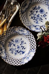 マイセン レースのディナー皿 ブルーオニオン ペア