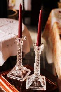 ガラス製 ギリシャ神殿風 ペア キャンドルスタンド