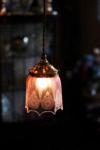 クランベリーガラス ガス灯 ランプシェード