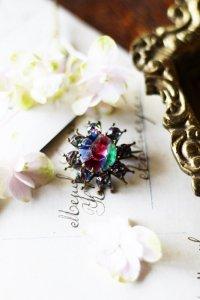 アールデコの虹色の星 アイリスガラス ブローチ
