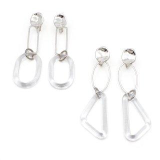 クラフトガラス puzzle ring シルバー イヤリング:gargle(ガーグル)