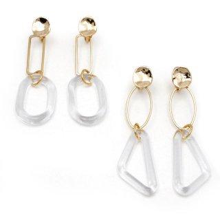 クラフトガラス puzzle ring ゴールド イヤリング:gargle(ガーグル)