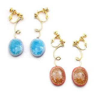 有田焼 カラフルガラス宝石 イヤリング:gargle(ガーグル)