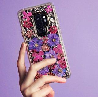 【Galaxy S9+専用 ドライフラワーを使用!ハッピーでかわいいケース】Galaxy S9+ SC-03K/SCV39 Karat Petals - Purple