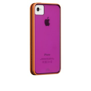 【背面が透けるハードケース】 iPhone 4S/4 Haze Case Raspberry/Tangerine Tango