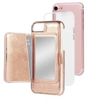 【iPhone8 コンパクトミラー付き 手鏡いらずのiPhoneケース】iPhone8/7/6s/6 Compact Mirror Case−Rose Gold