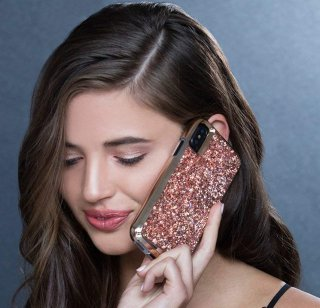 【水晶を使用した高級感あふれるプレミアムなケース】iPhoneXR Brilliance-Rose Gold