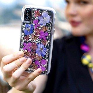 【ドライフラワーを使用!ハッピーでかわいいケース】iPhoneXS Max Karat Petals-Purple