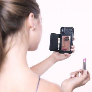 【iPhoneXS/X コンパクトミラー付き 手鏡いらずのiPhoneケース】iPhoneXS/X Compact Mirror Case−Black