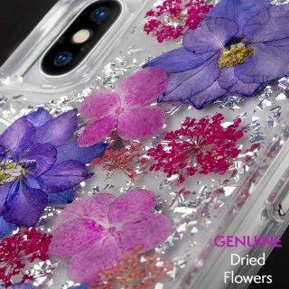 【ドライフラワーを使用!ハッピーでかわいいケース】iPhoneXS/X Karat Petals-Purple