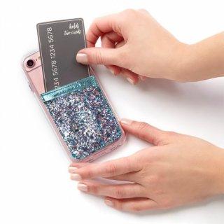 【ケース貼るだけでカードホルダー機能の追加が出来る!ステッカー型ポケット】 ID Pockets Glitter Turquoise