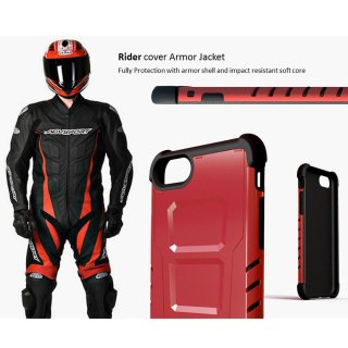 【CAPDASE iPhone7 ケース アーマースーツ】CAPDASE Armor Suit - Combo Rider Jacket + Newton Cover Red
