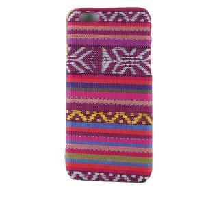 【iPhone6s/6 ケース エスニック調】 iPhone6s/6  Knitting Style Rear Cover Case  ピンク