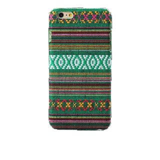 【iPhone6s/6 ケース エスニック調】 iPhone6s/6  Knitting Style Rear Cover Case  Green