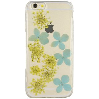 【iPhone6s/6 ケース ドライフラワー封入】 がうがう! iPhone6s/6  Dried Flower TPU Soft Clear Case  Blue & Yellow