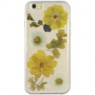 【iPhone6s/6 ケース ドライフラワー封入】 がうがう! iPhone6s/6  Dried Flower TPU Soft Clear Case  Yellow & White