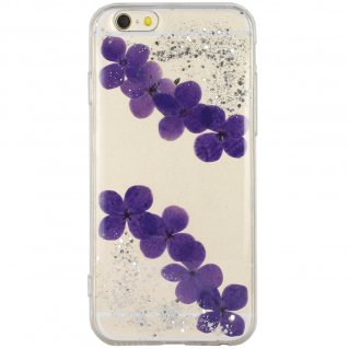 【iPhone6s/6 ケース ラメとドライフラワー封入】 がうがう! iPhone6s/6  Glitter Dried Flower TPU Soft Clear Case