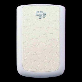 BlackBerry Bold 9780 Battery Door  Croco Glossy Flat Cream White  Rubberized White