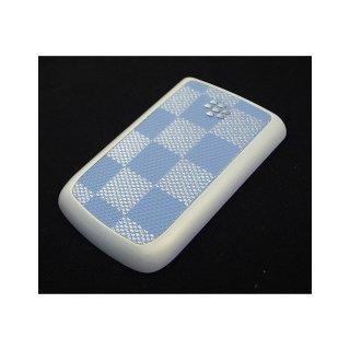 BlackBerry Bold 9780 Battery Door  Checker Flag Motif Cyan  Gloss Pearl White