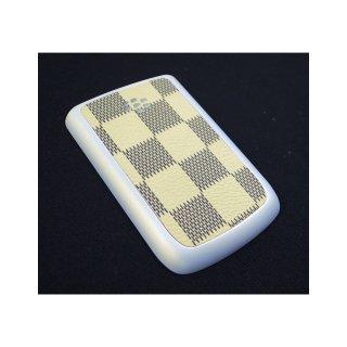 BlackBerry Bold 9780 Battery Door  Checker Flag Motif Cream Yellow  Rubberized Pearl White