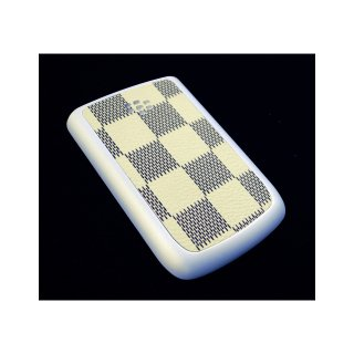 BlackBerry Bold 9780 Battery Door  Checker Flag Motif Cream Yellow  Gloss Pearl White