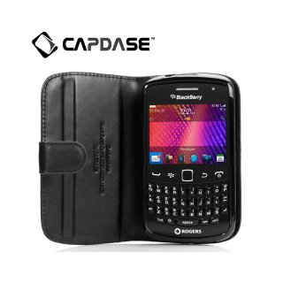 【スタンド機能付き縦開き型ケース】 CAPDASE BlackBerry Curve 9350/9360/9370 Leather Bi-fold  Black